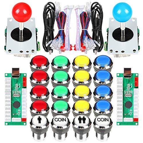 Fosiya 2 Jugador Arcade Joystick LED Chrome Botones de Arranque para PC MAME Frambuesa Pi Video Juegos Arcade Gabinete de Piezas (Color Mezclado)