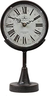 Lily's Home Antique Inspired Decorative Mantle Clock with Large Roman Numerals, Battery Powered with Quartz Movement, Fits with Victorian or Antique Décor Theme, Black (11 3/4