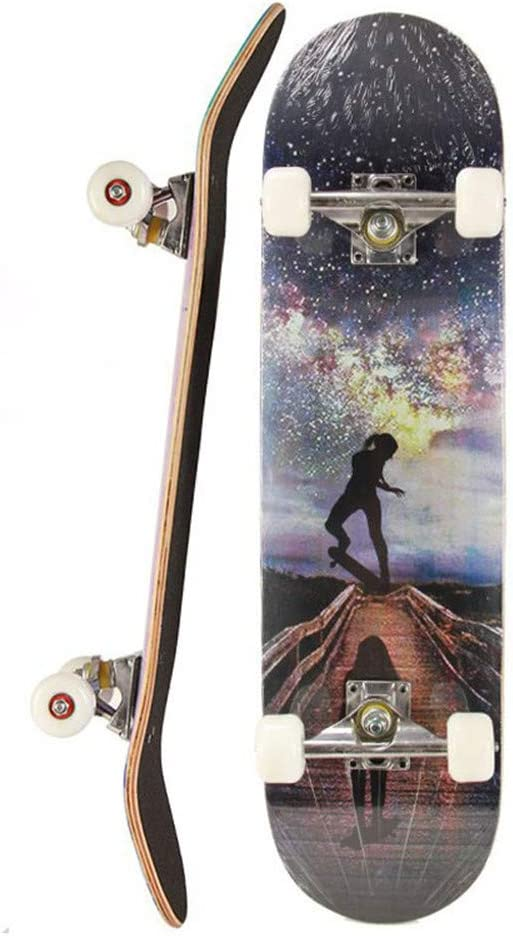 31Inch Complete Skateboards with 9-Ply Maple Construction for For Kids Boys Youths Beginners,Female skateboarder GSHIYA Standard Skateboards for Beginners