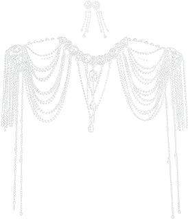 Tinksky Wedding Bride Crystal Diamante Choker Necklace Shoulder Chain Bridal Jewelry Wedding Jewelry Sets