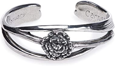 Salisbury Pewter - Nouveau Flower of The Month (Carnation) Cuff Bracelet - March- Made in The USA - Item #FOMB-03