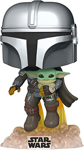 Funko- Pop Star Wars: The Mandalorian-Mando Flying w/Jet Pack Figurine de Collection, 50959, Multicoleur