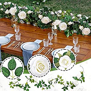 yisiqico wedding decorations,16 flowers artificial rose faux greenery hanging floral vine decorative for wedding wall decor silk flower arrangements