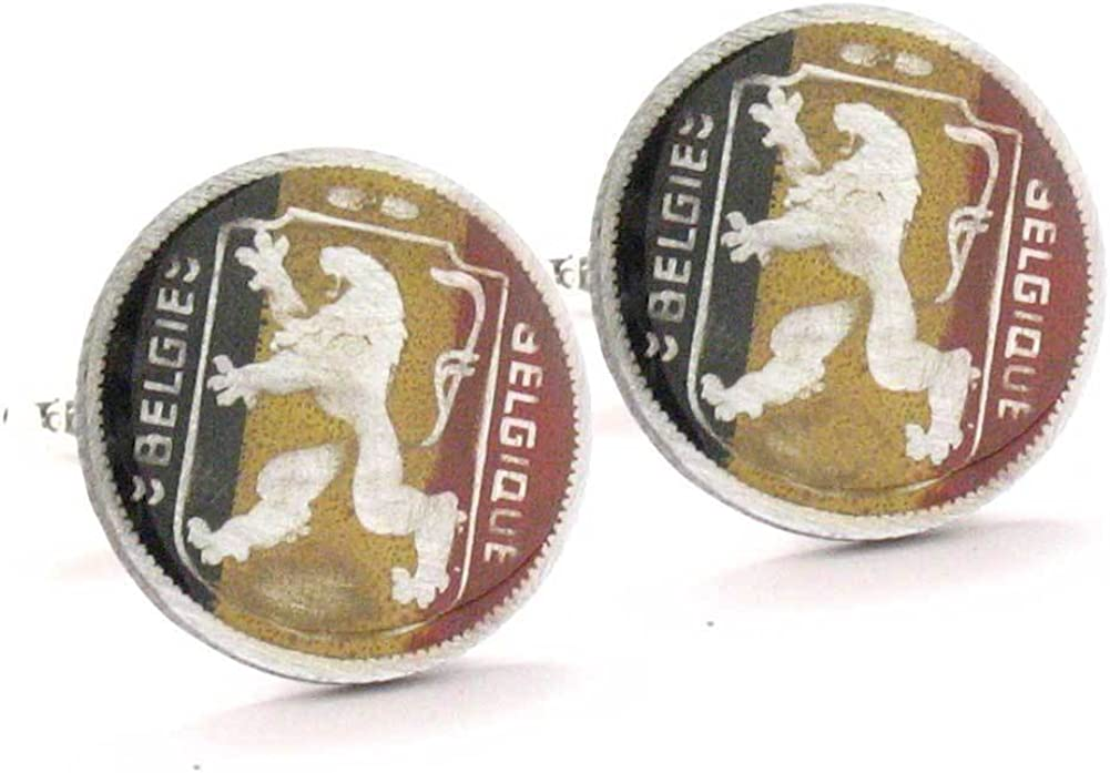 Men's Executive Cufflinks Hand Painted Authentic Belgium Seal Coins Coin Cuff Links