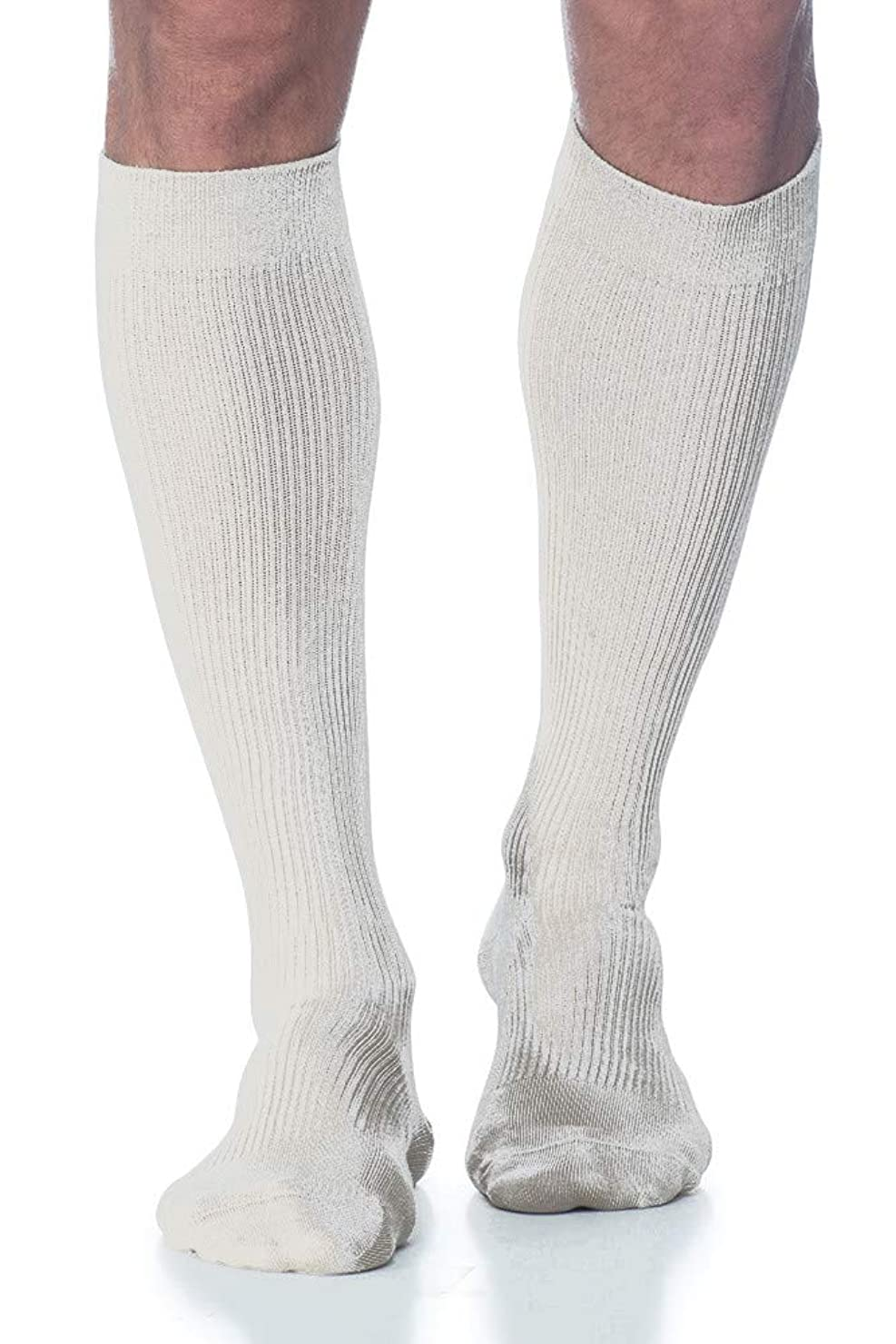 入場料松器官Sigvaris 186CC00 Casual Cotton 15-20mmHg Closed Toe Men's Knee High Sock Size: C (11.5-14), Color: White 00 by Sigvaris
