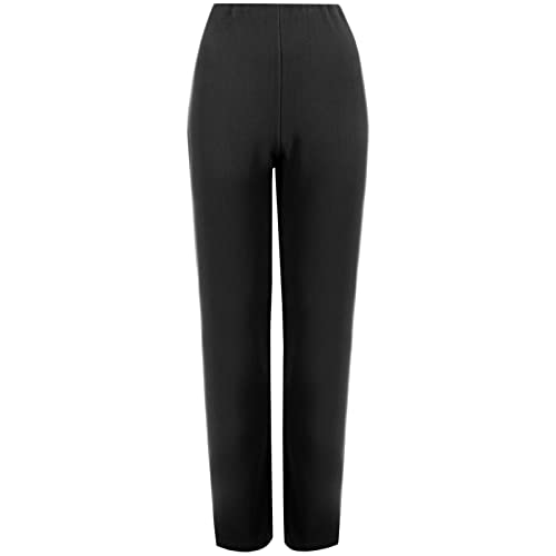 79b7a337062 MyShoeStore Pack of 2 Ladies Womens Straight Leg Trousers Finely Soft  Ribbed Stretch Pull on Pants