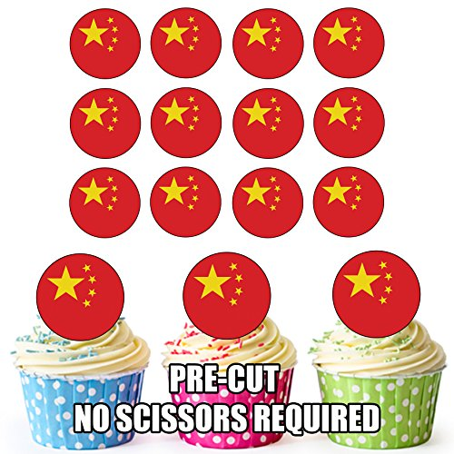 China Vlag - 24 Eetbare Cupcake Toppers/Verjaardag Cake Decoraties - Easy Precut Circles