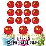 Essbare Cupcake-Dekorationen mit China-Flagge, 24 Stück