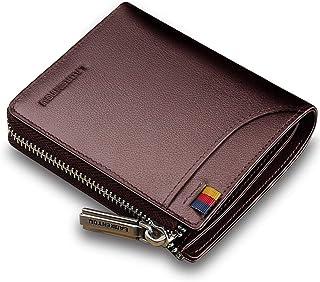 LAORENTOU Genuine Leather Wallets for Men, RFID Blocking, Multi Card Holder Slim Mens Wallet with Zipper Coin Purse, Bifol...
