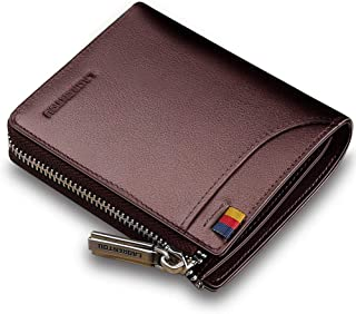 Leather Wallets for Men Multi Card Holder Bifold Mens Wallet with Zipper
