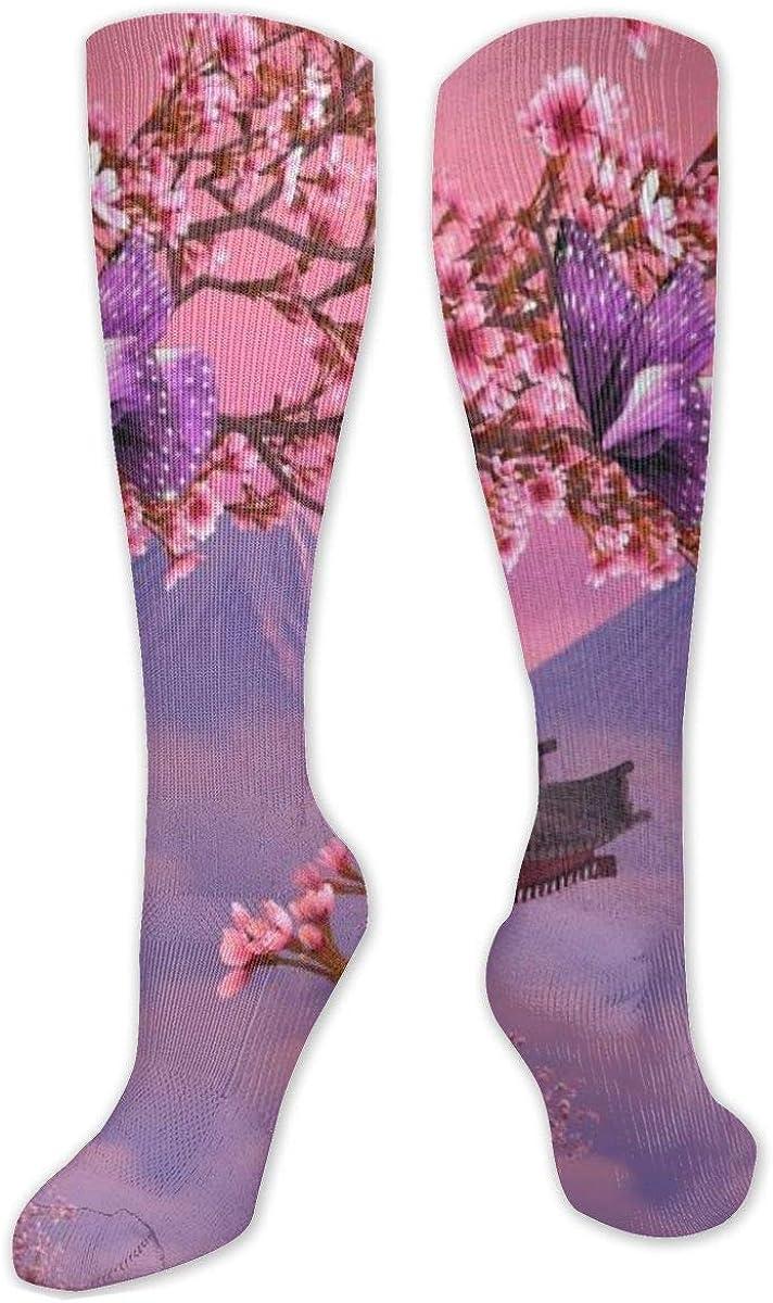 Japanese Cherry Blossom Mt.Fuji Knee High Socks Leg Warmer Dresses Long Boot Stockings For Womens Cosplay Daily Wear