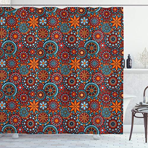 ABAKUHAUS Mandala Douchegordijn, Bloemen, stoffen badkamerdecoratieset met haakjes, 175 x 200 cm, Vermilion Ruby Sky Blue