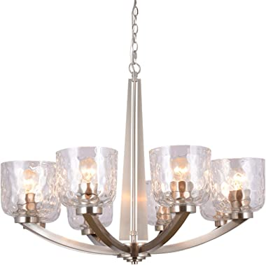"Alice House 29.5"" 8-Light Large Chandeliers for Dining Room, 72"" Chain, Brushed Nickel Finish, Kitchen Light Fixtures with Clear Hammered Glasses, Modern Farmhouse Chandelier AL6091-H8"