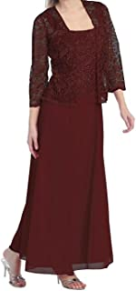 Womens Long Mother of The Bride Evening Formal Lace Dress with Jacket