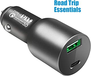 USB C PD Car Charger - 84W Dual Port Fast Charging Adapter with 60W Power Delivery for MacBook Pro/Air, iPad Pro, iPhone, Samsung Galaxy and Compatible Ultrabook Laptop Notebook, 24W QC3 for Android