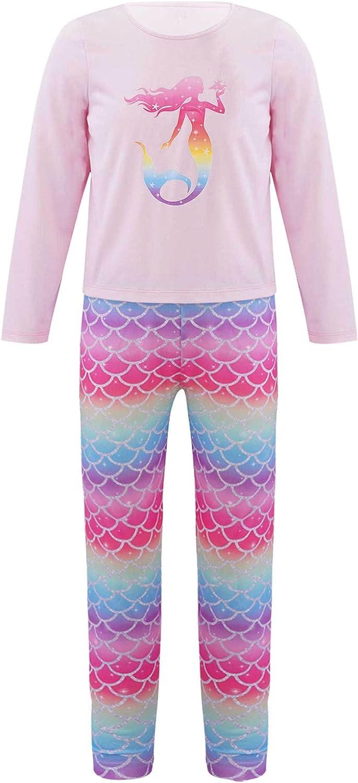Oyolan Kids Girls Fashion Long Pajamas with Beautiful Mermaid Clothes Sets 100% Cotton Winter Pjs Sleepwear