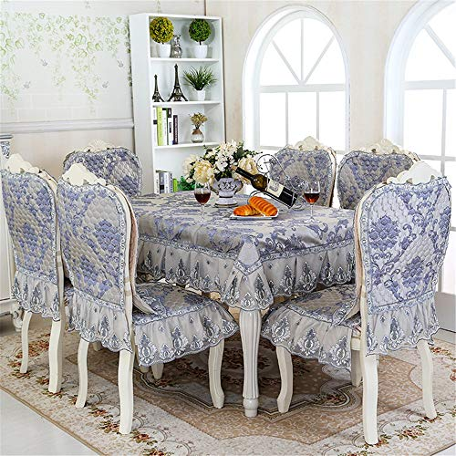 Nappe, Tissu de table,Nappe de Table,Housses de chaise antidérapantes et épaissies de style européen moderne avec dentelle en dentelle douce, confortable, anti-poussière, repassage et gris ovale, 90x90cm