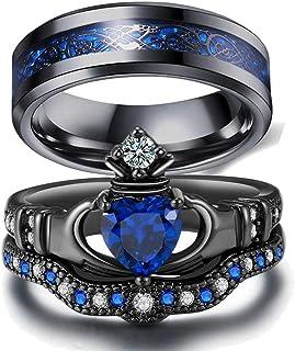 Couple Ring Bridal Set His Hers Black Claddagh Ring Heart Shape Rhinestone Stacking Irish Ring Stainless Steel Wedding Ring Band