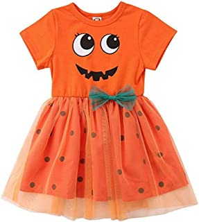 Toddler Baby Girl Halloween Princess Dress Pumpkin Smiles Bodysuit Polka Dots Tulle Skirt Bowknot Party Dresses