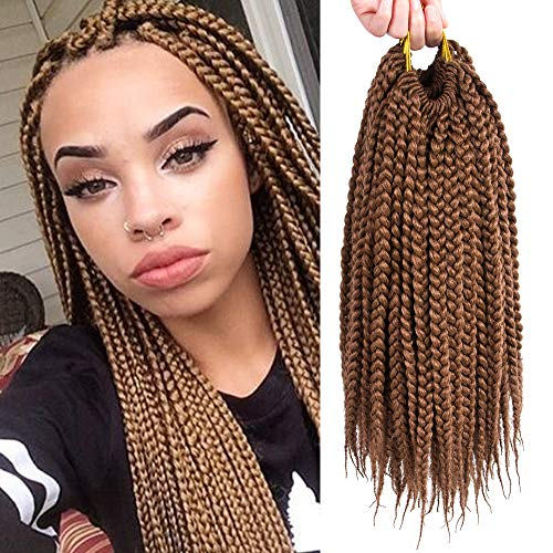 VRHOT 6Packs 12 inch Box Braids Crochet Hair Prelooped Brown Synthetic Hair Extensions Small 3S Crochet Braids Braiding Hair Style Dreadlocks (12 inch, 30#)