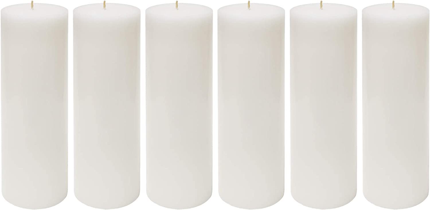 Mega Candles 6 pcs Unscented White Hand Pou Year-end annual account OFFer Round Pillar Candle
