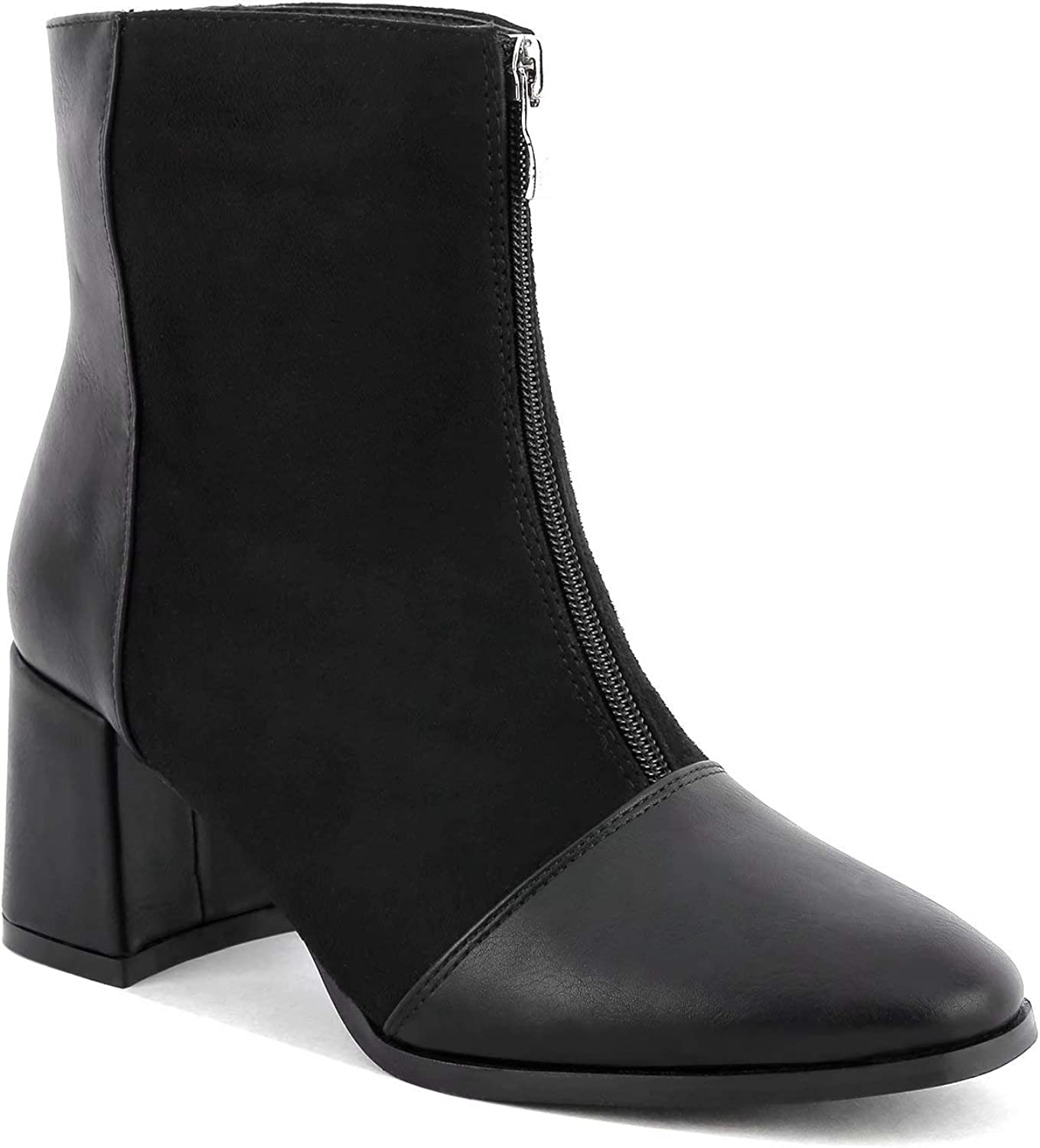 MaxMuxun Womens Ankle Boots Chunky Block Heel Max 65% OFF Front F Zipper Low Limited time trial price
