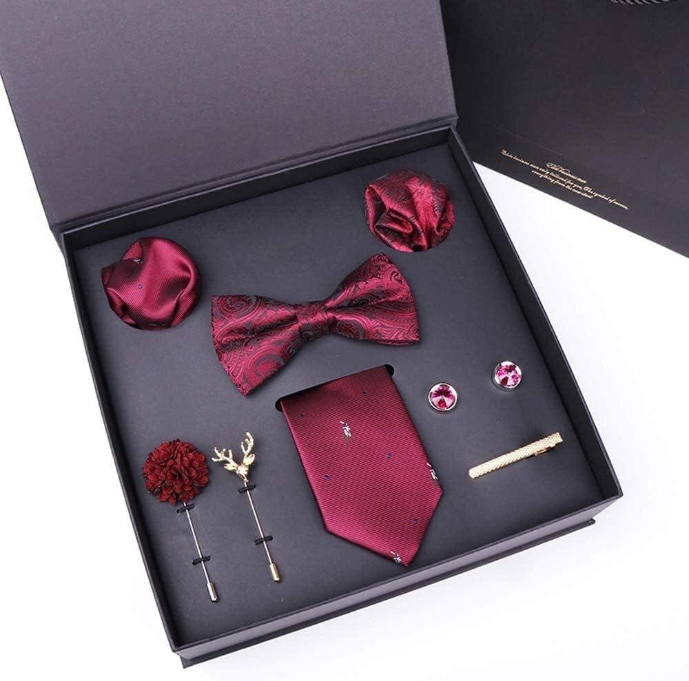 WYKDL Designer Mens Tie Collection Eleagnt Gift Box Tie Clips Handkerchief Cufflink Set Ties Silk Tie Pocket Square Cufflinks Set for Formal Wedding Business Party Set Gift Box Pack