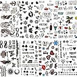 COKTAK 8 Fogli Labbra Sexy Foglia Nero Tatuaggio Temporaneo Cartone Animato Per Bambini Stella Carino Adesivo Infinito Amore Donna Corpo Dito Arte Impermeabile Tatuaggi Ragazza Diamanti Tattoos