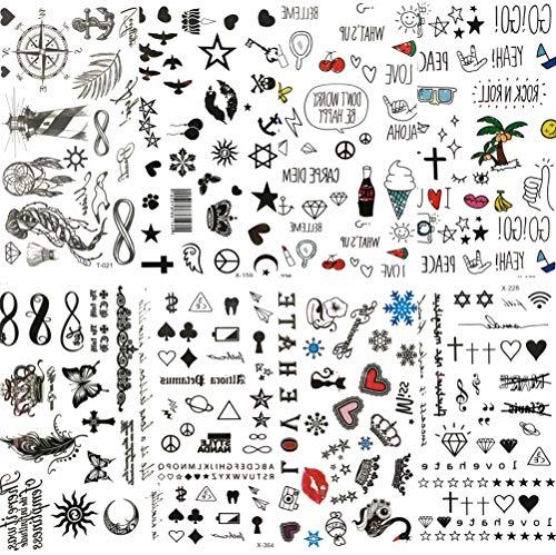 COKTAK 8 Feuilles Tatouage éphémère Enfants Animé Noir Petites Feuilles étoiles Autocollant De Tatouage Infini Amour Femmes Corps Doigt étanche Tatouage Temporaire Filles Papier Diamants Tattoo
