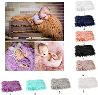 OULII Baby Photo Props Soft Fur Quilt Photographic Mat DIY Newborn Baby Photography Wrap-BAby Photo Props Favors (Pink)