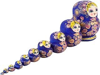 Bestonzon 10Pcs Nesting Dolls Wood Matryoshka Russian Dolls Ten Layer Matryoshka Doll for Kids Toy Home Christmas Holiday ...