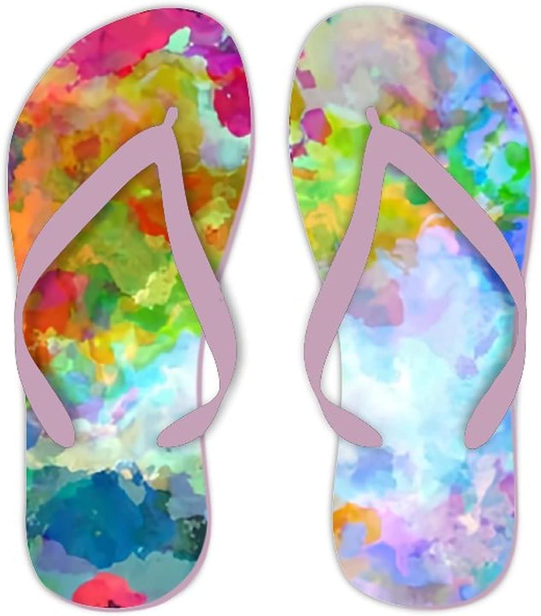 UTF4C Summer Flip Flops for Men Women Seamless Abstract Background Multicolored Elegant Soft Lightweight Non Slip Sandals for Shower Beach Pool Bathroom Flat 11.5