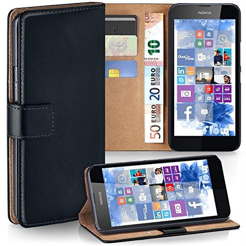 moex Premium Handytasche kompatibel mit Nokia Lumia 630/635 - Klapphülle mit Kartenfach und Ständer, magnetische Handy Tasche - Flip Case Schutzhülle, Schwarz