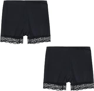 LIQQY Women's 2 Pack Polyamide Lace Trim Base Layer Short Leggings Pants