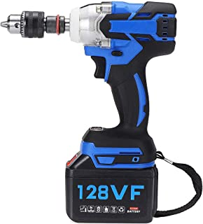 LKSDD Impact Wrench,19800Mah 128V 520NM Brushless Electric Screwdriver Impact Wrench Pipe Wrench Lithium Battery Hand Drill Installation Power Tools,2batteries