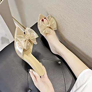 Women Slipper Bow Slip-on Heels Slippers Dress Outdoor Sandals Shoes