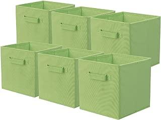 ShellKingdom Storage Bins, Foldable Fabric Storage Cubes and Cloth Storage Organizer Drawer for Closet and Toys Storage,6 Pack(Green)