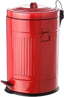 Papelera de 20 litros industrial roja de acero para cocina