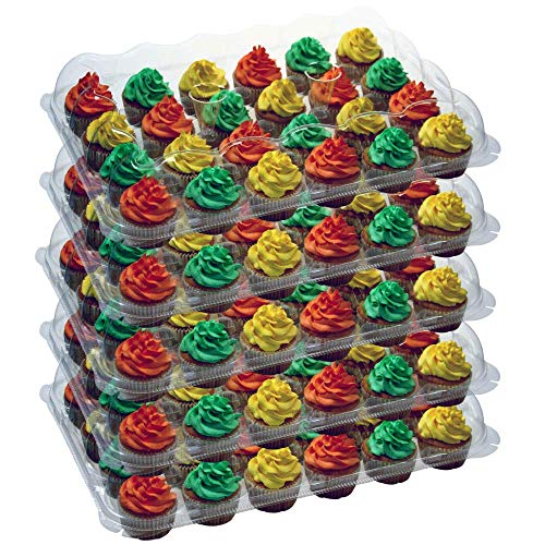 OccasionWise Premium Clear Large Cupcake Containers | 24 Regular Compartments | High Dome Boxes Great for Tall Topping Regular Cupcakes | with Detachable Lid | Sturdy & Reusable | Set of 5