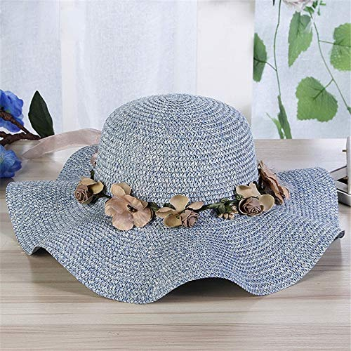 Desqueena Colorful Flower Cap Big Wide Brim Straw Hat Beach Sun Foldable Cap for Women,StarLightd (Color : Blue)