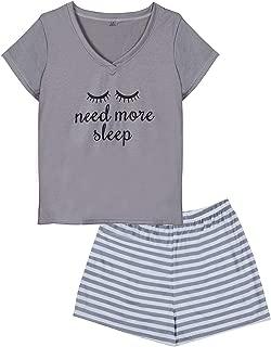 HONG HUI Women's Shorts Pajama Sets Plus Size Closed Eyes Print Sleepwear Pjs S-XXL