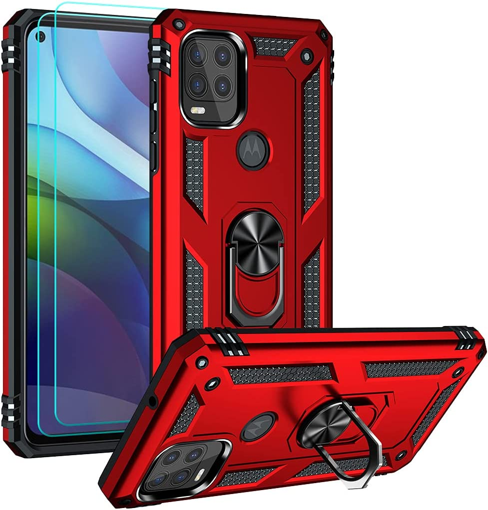 Moto G Stylus 5G Case with HD Screen Protector, Androgate Military-Grade Ring Holder Kickstand Car Mount 16ft Drop Tested Protective Cover Phone Case for Motorola Moto G Stylus 5G, Red