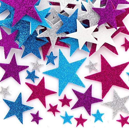 Baker Ross AX435 Winterliche Stern Glitzernde Moosgummi Aufkleber - 195 Stück, Saisonale Künstler- und Bastelbedarf zum Basteln und Dekorieren zur Winterzeit