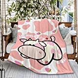 Naiagiri Strawberry Milk Kuh Sofa-Überwurf, Decke, Flanell, super weiche Fleece-Tagesdecke, Heimdekoration, für Bett, Couch, Wohnzimmer, klein, 127 x 101 cm (Überwurf für Kinder