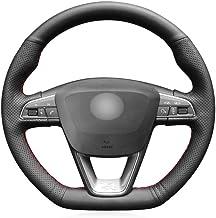 DYBANP Cubierta de Volante de Cuero Negro para Seat Leon Cupra R 2013 2019 Leon ST Cupra 2013 2019 Ateca Cupra 2016 2019-Hilo Amarillo