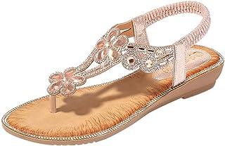 55ad9f2007d JJLIKER Women Bohemian Flower Rhinestone Crystal Sandals Chunky Platform  Wedges Shoes Stretch Strap Slip On Slippers
