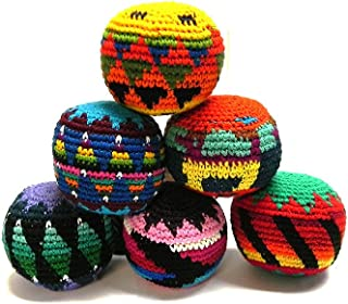 Mia Jewel Shop Guatemalan Handcrafted Crochet Assorted Pattern Hacky Ball Foot Bag Sack Multicolored - Wholesale Set of 3, 6, 12, or 24