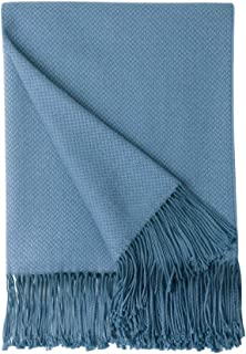 BOURINA Herringbone Two Tone Throw Blanket Faux Cashmere Fringe Soft Lightweight Cozy for Bed Couch Decorative Throws Blanket, Spa Blue, 50