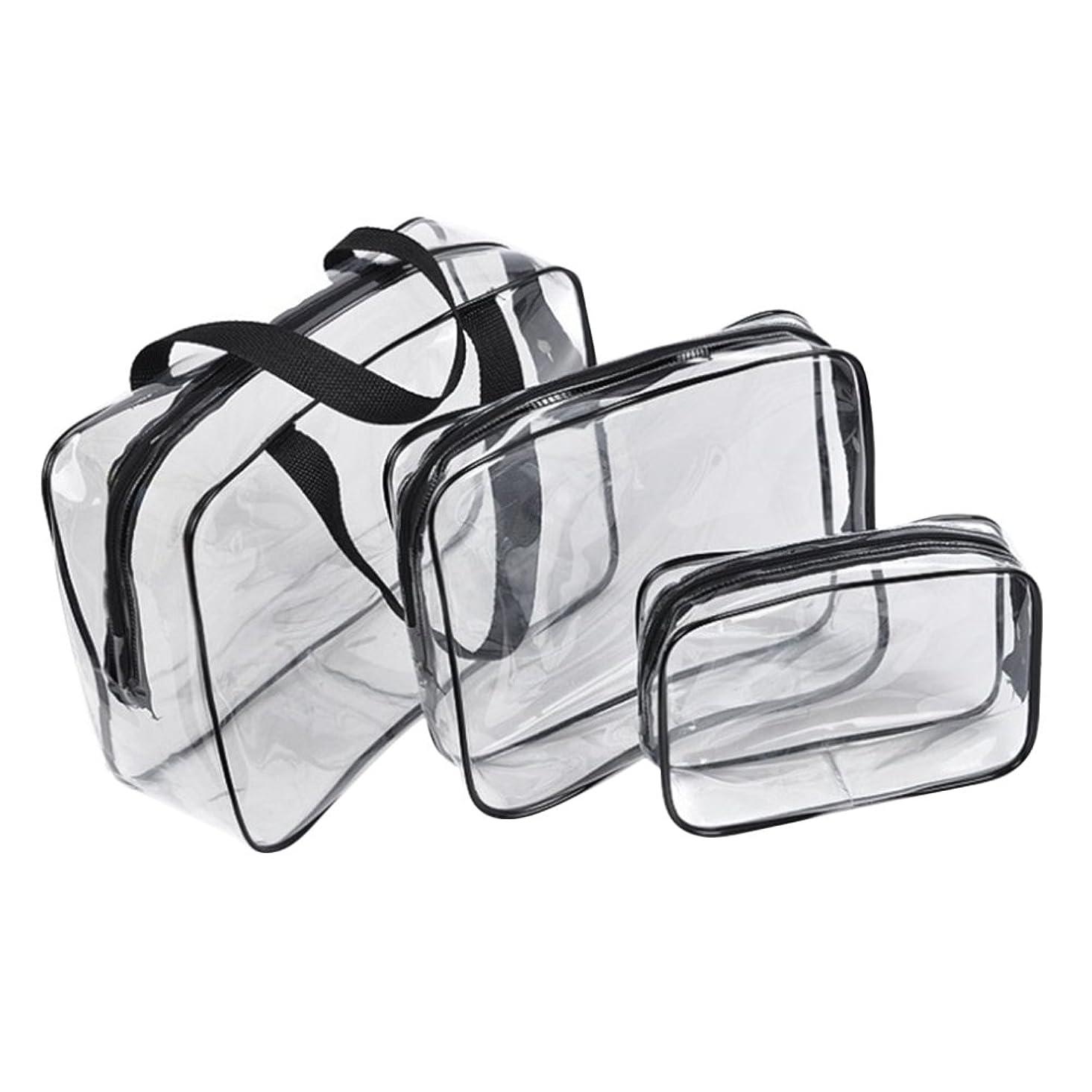 露出度の高いトロリー輪郭メークボックス ポーチ ビジネスバッグ 収納ボックス アクセサリー メーク 文房具 化粧品収納 透明 3個セット (ブラック)
