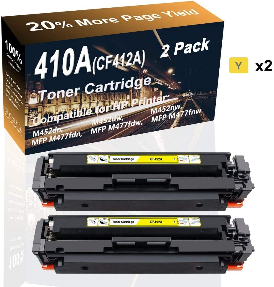 2-Pack (Yellow) Compatible Color Toner Cartridge (High Yield) Replacement for HP 410A CF412A Printer Toner use for HP M452dw M452nw MFP M477fdn Printer